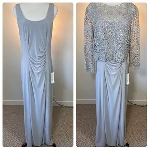 Patra Long Formal dress with Sequined Lace Overlay